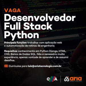 Oportunidade: vaga para Desenvolvedor Full Stack Python